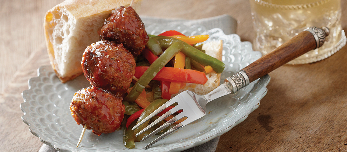 Texas Pete Meatball & Asiago Grinder with Fiery Sweet Bell Peppers